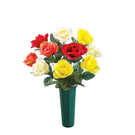 Faux Multicolor Roses & Vase for Cemetary Memorial Grave Marker,