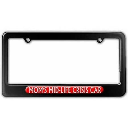 Car Tag Frame License Plate (Mom's Midlife Crisis Car, Funny License Plate Tag Frame, Multiple Colors )