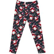 Womens Thermal Charcoal Christmas Santa Clause Holiday Candy Cane Leggings