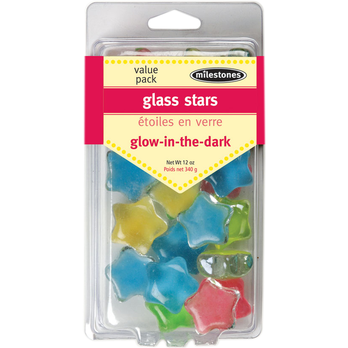 Mosaic Glass Stars 12oz Value Pack-Glow-In-The-Dark