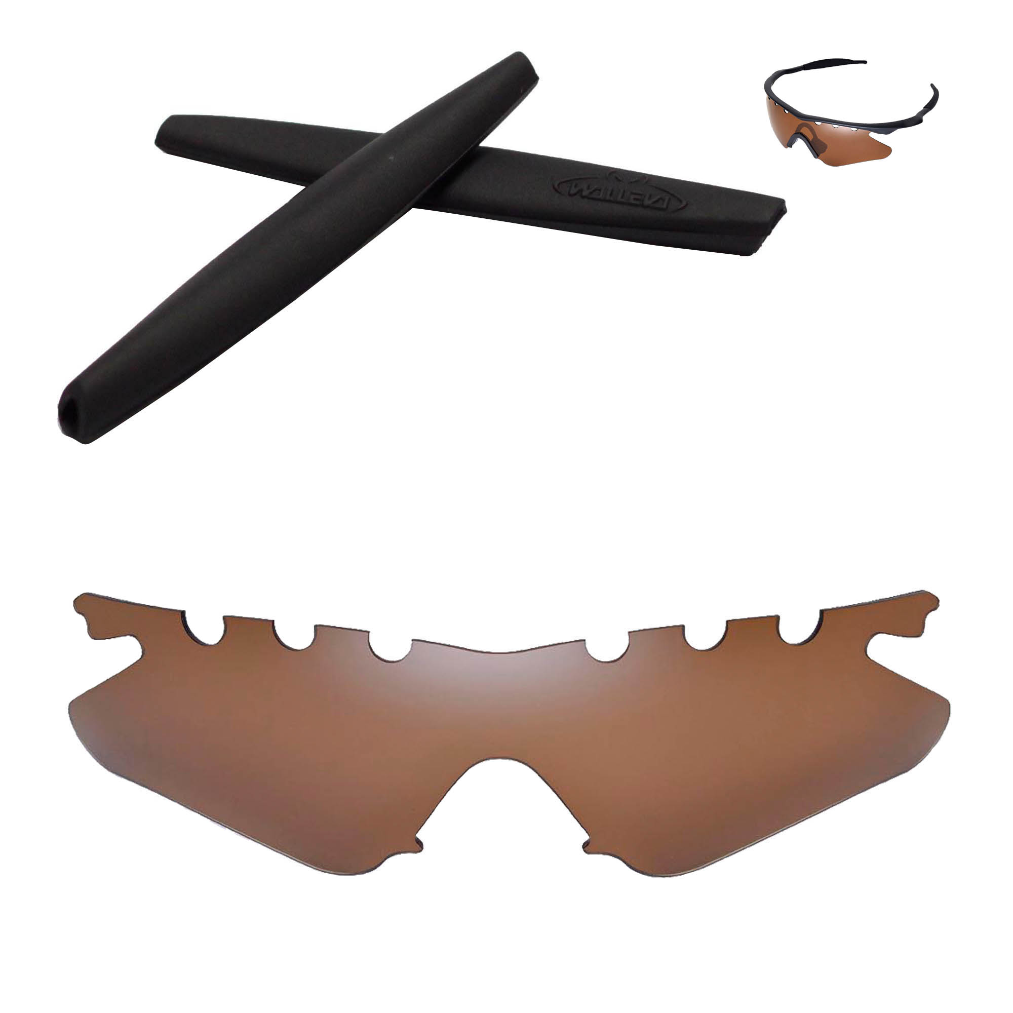 Walleva Brown Polarized Vented Replacement Lenses And Bla...