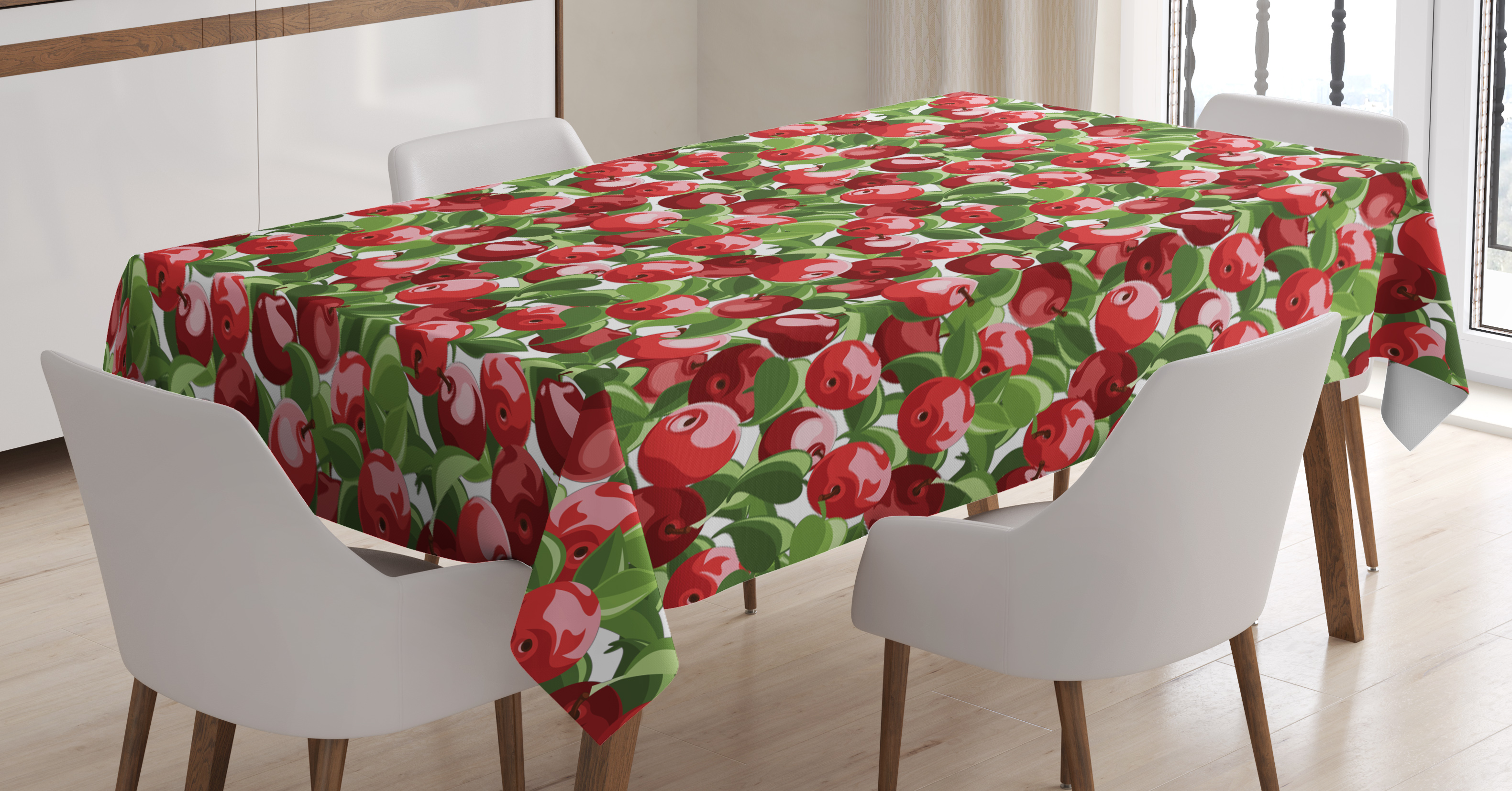 Apple Tablecloth, Red Apples and Green Leaves
