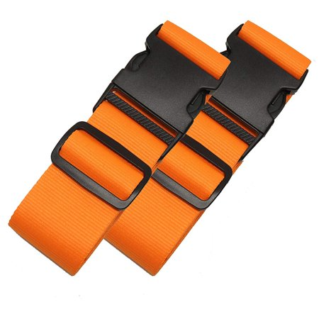 2 Pack Luggage Straps Set Suitcase Belts Neon Luggage Tags Set Neon Luggage Strap TSA Approved Carry On Luggage Tag