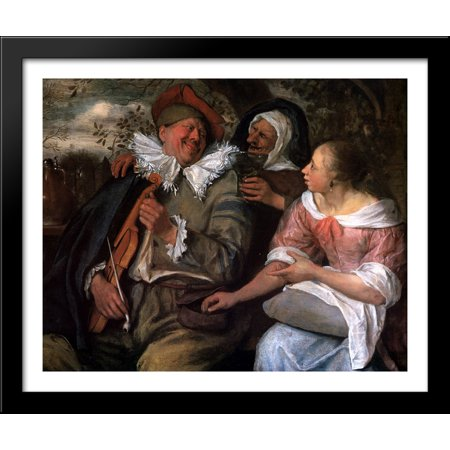 Robbed Violin Player 34X28 Large Black Wood Framed Print Art By Jan Steen
