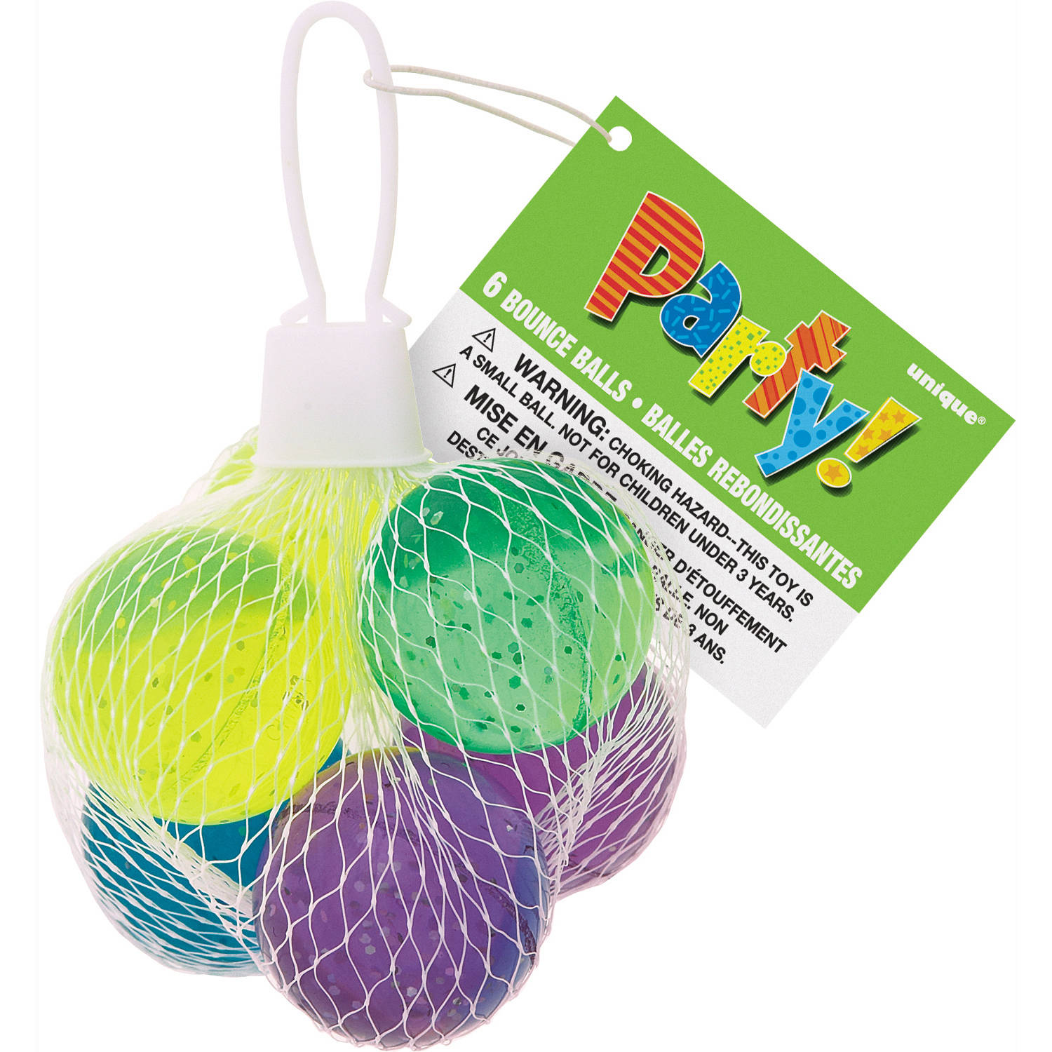 Glitter Bouncy Ball Party Favors, 6-Count