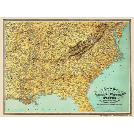 Civil War Map Middle Southern Us With Seat Of War Schaus 1861 - Map-of-the-us-in-1861