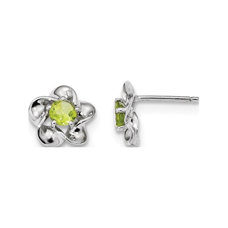 Designer Sterling Silver Rhodium-Plated Floral Peridot Post Earrings (Length=15) (Width=9) Made In China Designer Floral Earrings