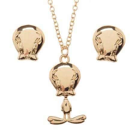 - Looney Tunes Tweety Bird Jewelry Necklace and Earrings Set