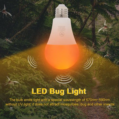 Yellow LED Bug Light Bulb No Blue Light Outdoor E26/27 15W Mosquito Repellent Light Bulb No UV 570-590nm Wavelength Night Light for Outdoor Indoor Long Service Life Energy Saving Light - image 3 of 7