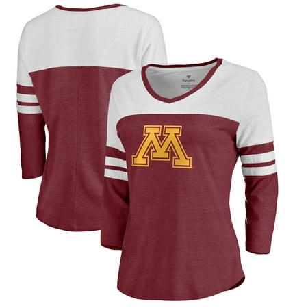 Minnesota Golden Gophers Fanatics Branded Women's Primary Logo Color Block 3/4 Sleeve Tri-Blend T-Shirt - Maroon Minnesota Golden Gophers College Baseball