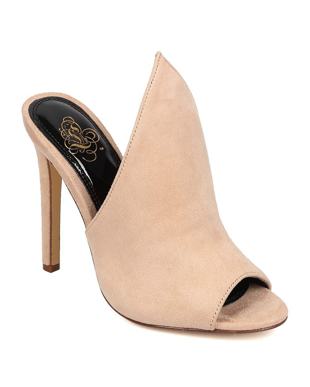 Miss L FK02 Women Faux Suede Pointed Peep Toe Stiletto Mule