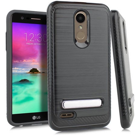 Kaleidio Case For LG Phoenix Plus, Harmony 2 [Vector Armor] Slim TPU [Shockproof] [Brushed Metallic] Kickstand Carbon Fiber Accent Cover w/ Overbrawn Prying Tool