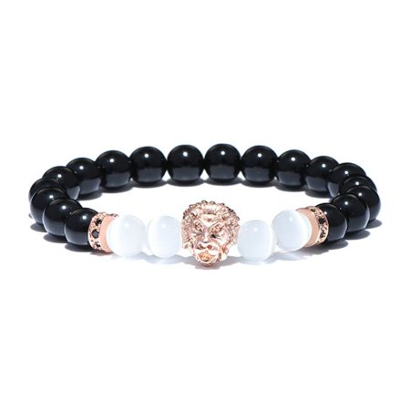 Natural Stone Obsidian Moonstone Beads Bracelet Cool Gothic Animal Head Lion - One Item w/Random Color and -