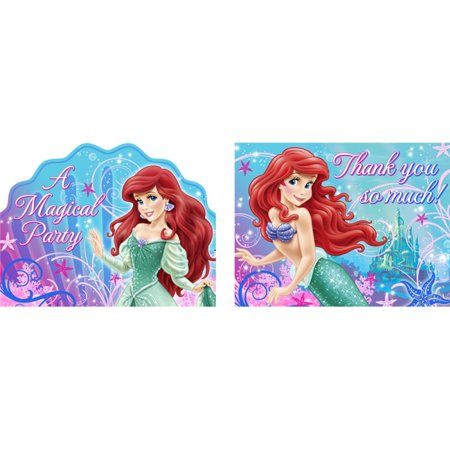 Little Mermaid Sparkle Party Invitations & Thank You Cards - 8 count each