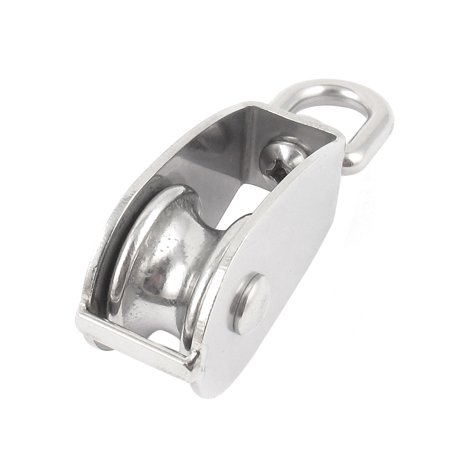 32mm Dia Stainless Steel Single Sheave Hoist Swivel Eye Wire Rope Pulley 0.25Ton