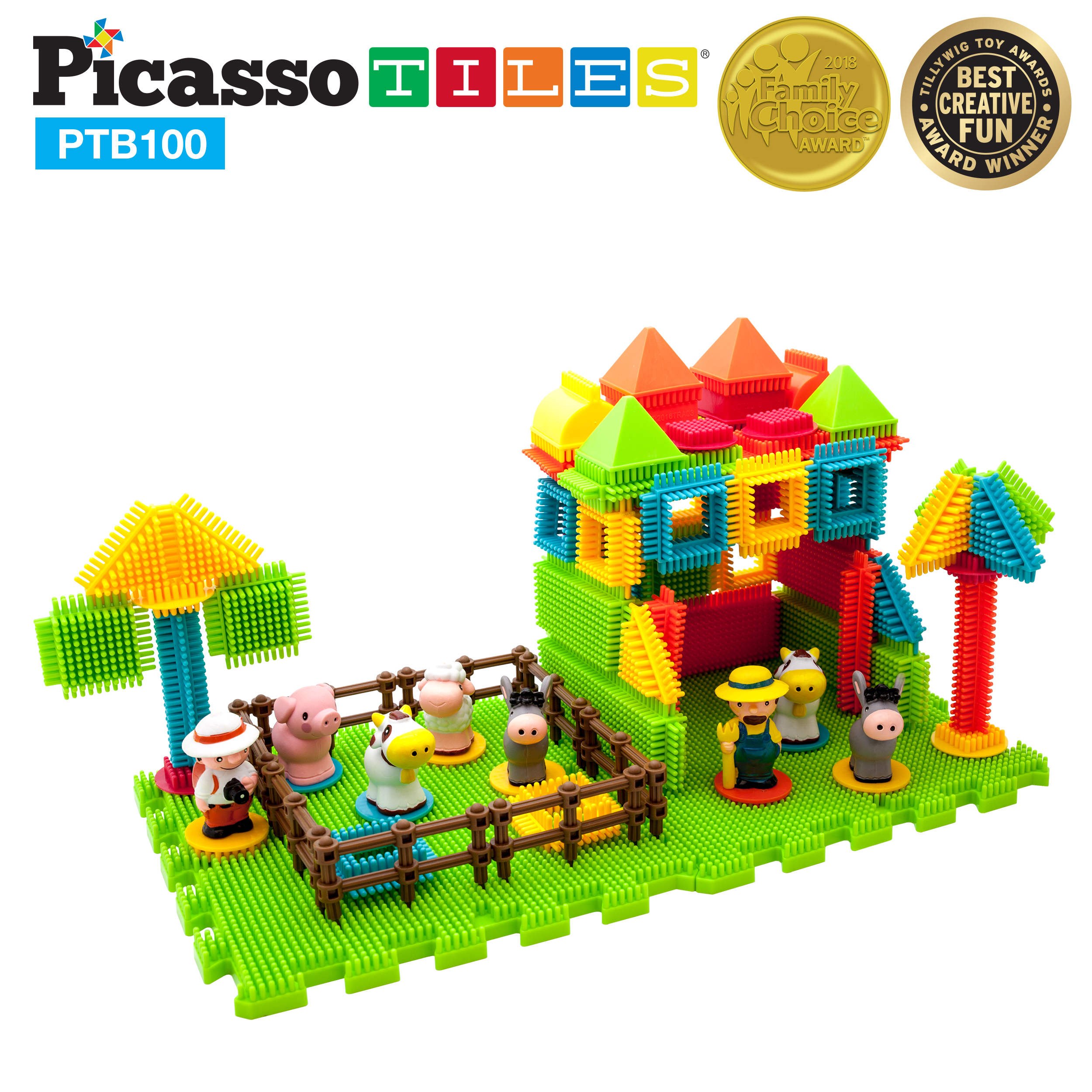 PicassoTiles PTB100 100pcs Bristle Shape 3D STEM Building Blocks Tiles Farm Theme Set... by PicassoTiles