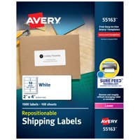 "Avery Repositionable Labels, Sure Feed, 2"" x 4"", 1,000 Labels (55163)"
