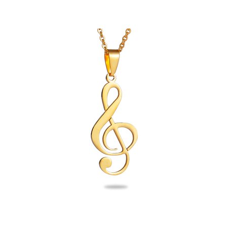Stainless Steel Gold Tone Sheet Music Musical Note Charm Pendant
