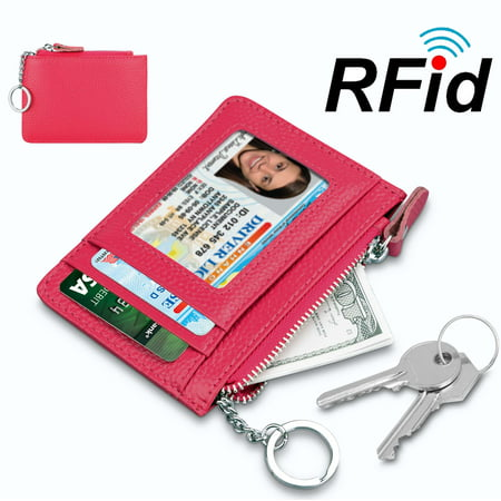 Njjex Rfid Blocking Genuine cowhide Leather Durable Slim Wallets with Key chain, Secure Credit Card Wallet Mini Card Holder with Zipper and Id Window,