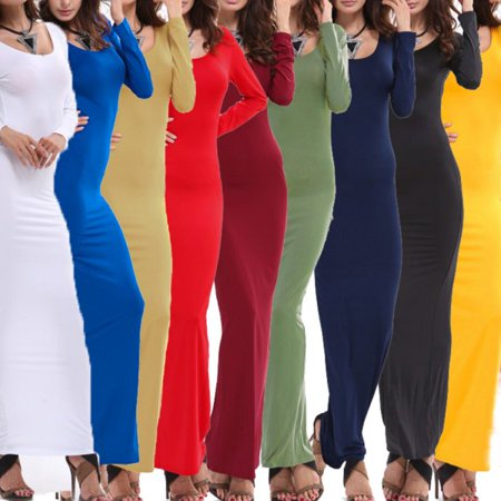 EFINNY Women Autumn Bodycon Long Maxi Dress Evening Cocktail Party Summer Pencil