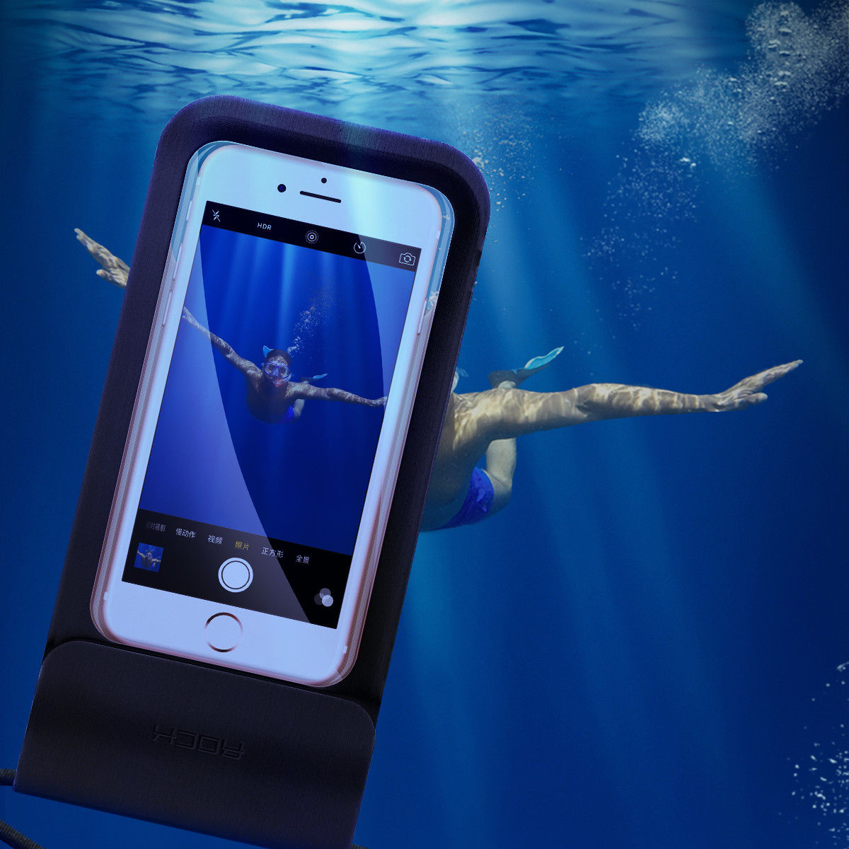 Universal Waterproof Case, ROCK Cellphone IPX8 Waterproof Underwater Phone Dry Bag Pouch with Neck Strap for iPhone X, 8 Plus/7/7 Plus/6S/6/6S Plus/5/5s/SE, - Black