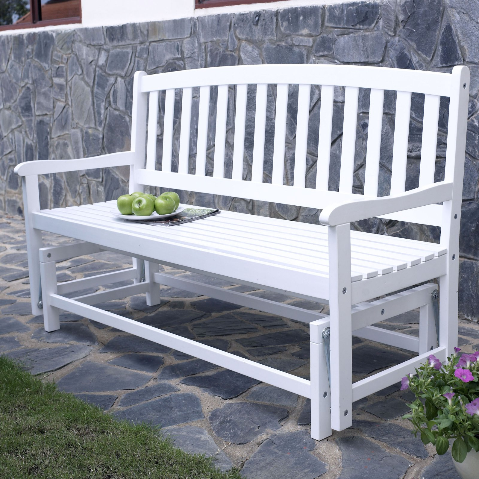Coral Coast Pleasant Bay Curved-Back Outdoor Glider Bench - White