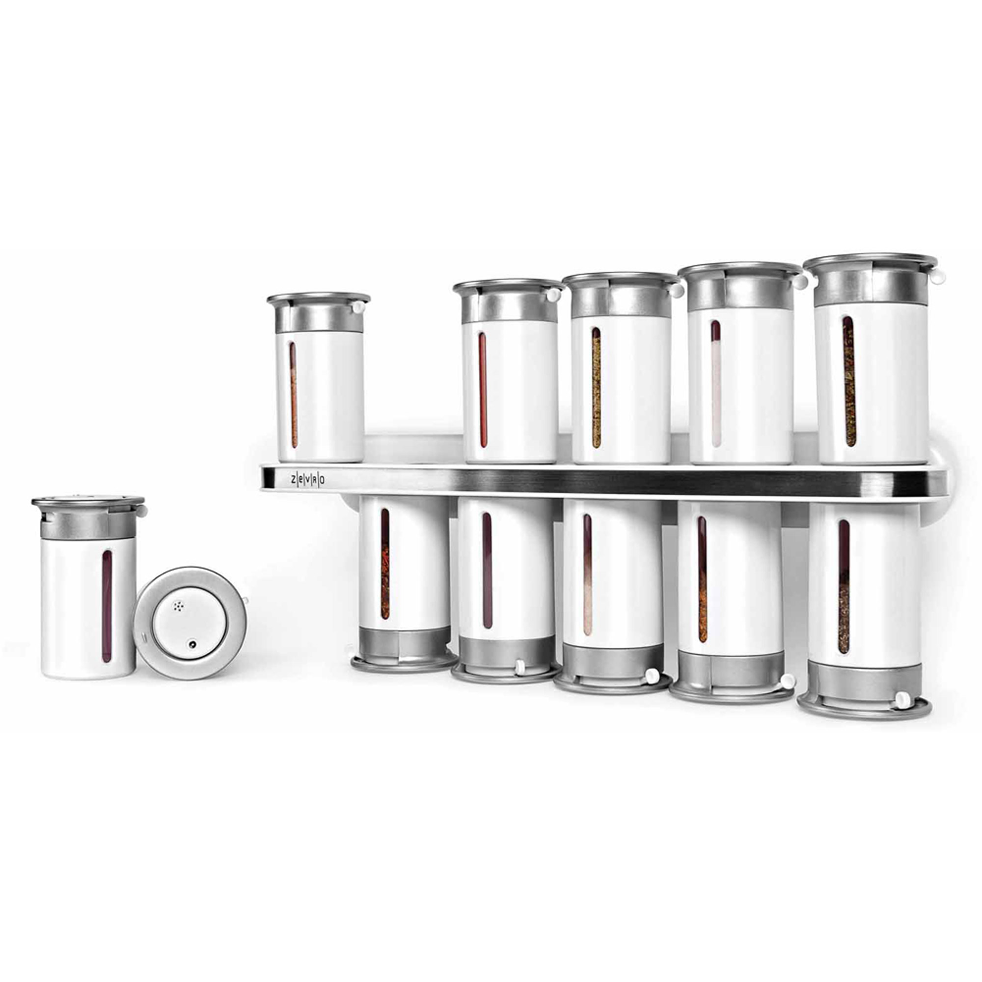 Zevro by Honey-Can-Do 12 Canister Zero Gravity Wall-Mount Magnetic Spice Rack
