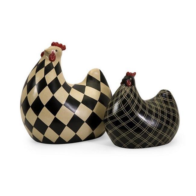 Home Decor Improvements 19095-2 Herrick Black and White Chickens - Set of 2