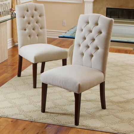 white fabric dining room chairs | Piero Fabric Off-white Dining Chairs (Set of 2) - Walmart.com