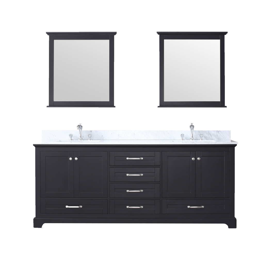 80 Double Vanity Espresso Carrera Marble Top White Square Sink