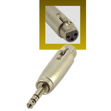 "IEC L7215-0 ""3 Pin XLR Female to 1/4"""" Phone Male Balanced (3 pole on Phone Plug) Adapter"""