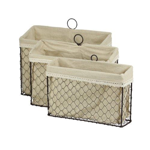 August Grove Fieldon 3 Piece Lined Wire Storage Basket Set