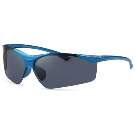 Hawaiian Island Creations Trendy Wrap Kids Deck Polarized Polycarbonate Sunglasses - Blue Frame / Smoke Lenses