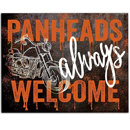Art Print Sign Gift (Panheads Always Welcome Harley Davidson Motorcyle Wall Art Sign - 11x14 Unframed Art Print - Great Gift for Bikers (Printed on Paper, Not Metal))