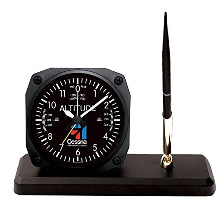Altimeter Clock (Trintec Cessna Altimeter Desk Pen Set with Alarm Clock Model CES-DS60)
