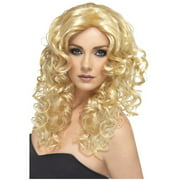 Adult's Womens  Glamour Long Blonde Curly Wig Costume Accessory