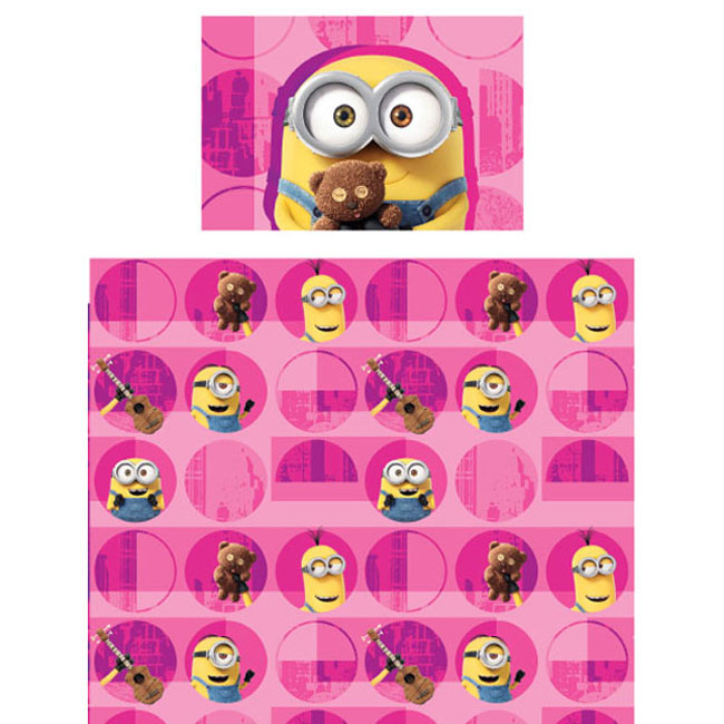 Store51 Llc 18082844 Despicable Me Minions Bed Sheet Set Pink Buddy Buddy Bedding Accessories