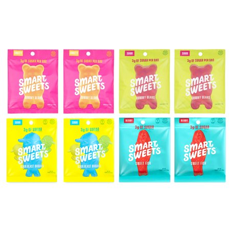 Smart Sweets, Keto-Friendly, Stevia Sweetened Fruity Gummy Bears, Sour Gummy Bears, Sweet Fish, Sour Buddies, Sugar Free Gummy Bears, Low Sugar, Low Carbs, 8 Pack Variety