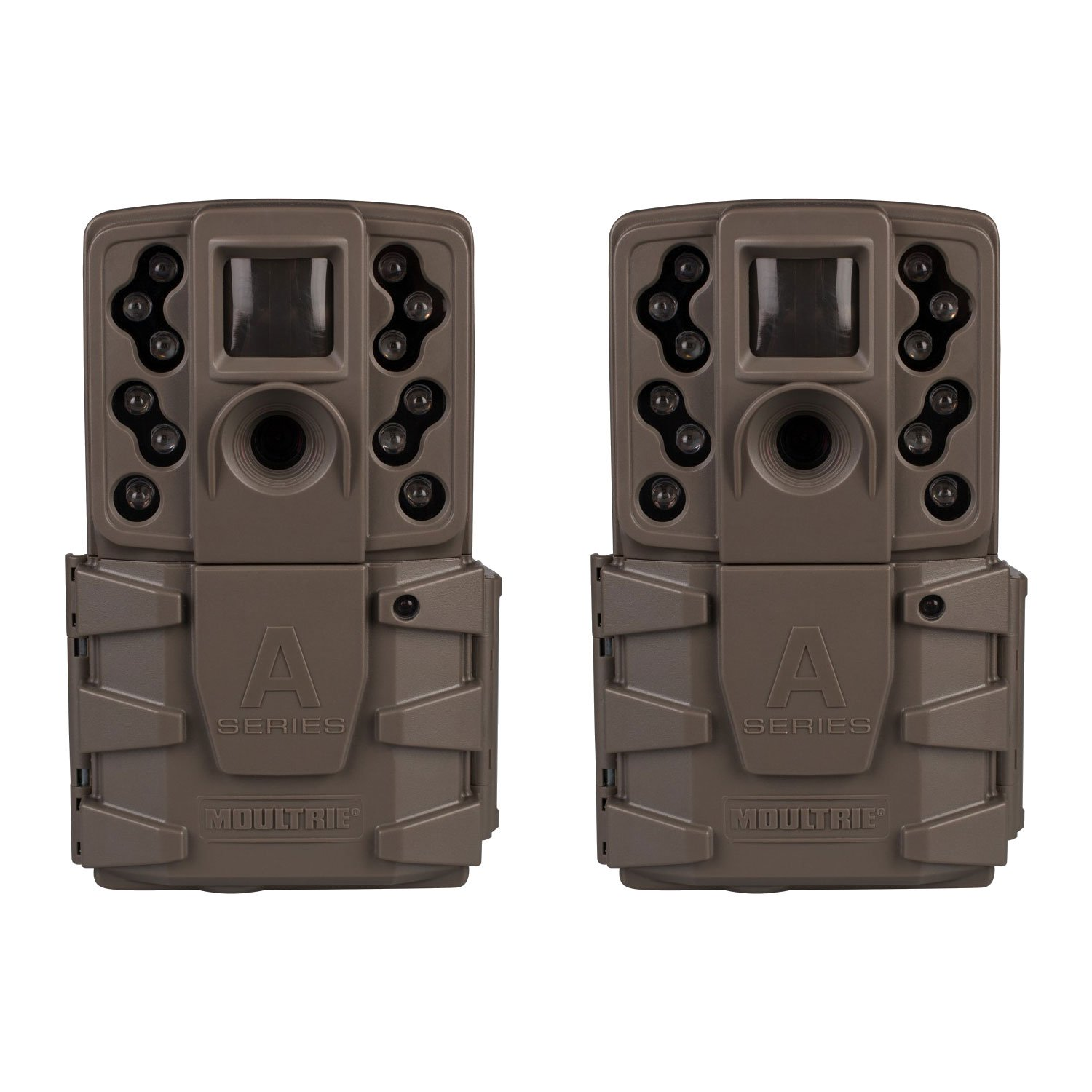 Moultrie A-25i 12MP Low Glow Scout Infrared Game Trail Camera, Brown (2 Pack)