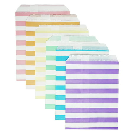 48 Pastel Rainbow Striped Stripes 5x7 Paper Treat Candy Bags Goody Favor Bags (Football Treat Bags)