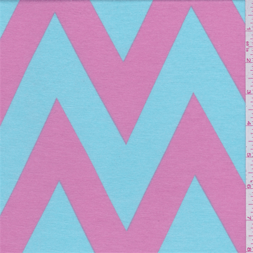 Soft Blue/Pink Chevron Jersey Knit, Fabric By the Yard