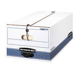 Bankers Box(R) Stor/File(TM) 60% Recycled Storage Boxes, String  Button, 24in. x 15in. x 10in., Legal, White/Blue, Pack Of 3