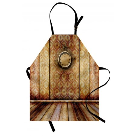 Victorian Apron Antique Clock on Medieval Style Wall Wooden Floor Classic Architecture Theme Art, Unisex Kitchen Bib Apron with Adjustable Neck for Cooking Baking Gardening, Beige Brown, by Ambesonne