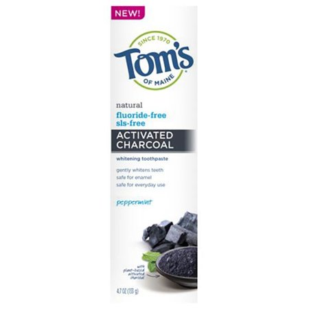 Tom's Of Maine Toothpastes Charcoal Peppermint 4.7 Oz Fluoride-Free Antiplaque Plus Whitening Gel 235143 2 PACK OC Antiplaque Plus Whitening Gel Toothpaste