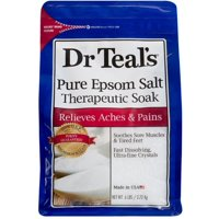 Dr Teals Pure Epsom Salt Therapeutic Soaking Solution, Unscented 96 oz (8 pack)