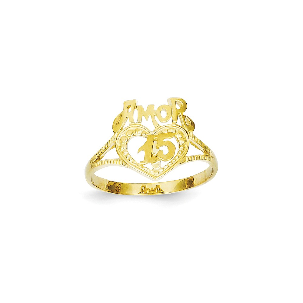 14k Yellow Gold 15 Amor Heart Ring
