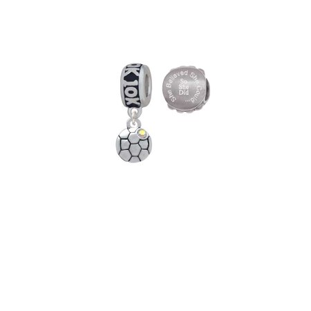 Silvertone Small Soccer ball with a AB Crystal 10K Run She Believed She Could Charm Beads (Set of - Soccer Ball 10k Charm