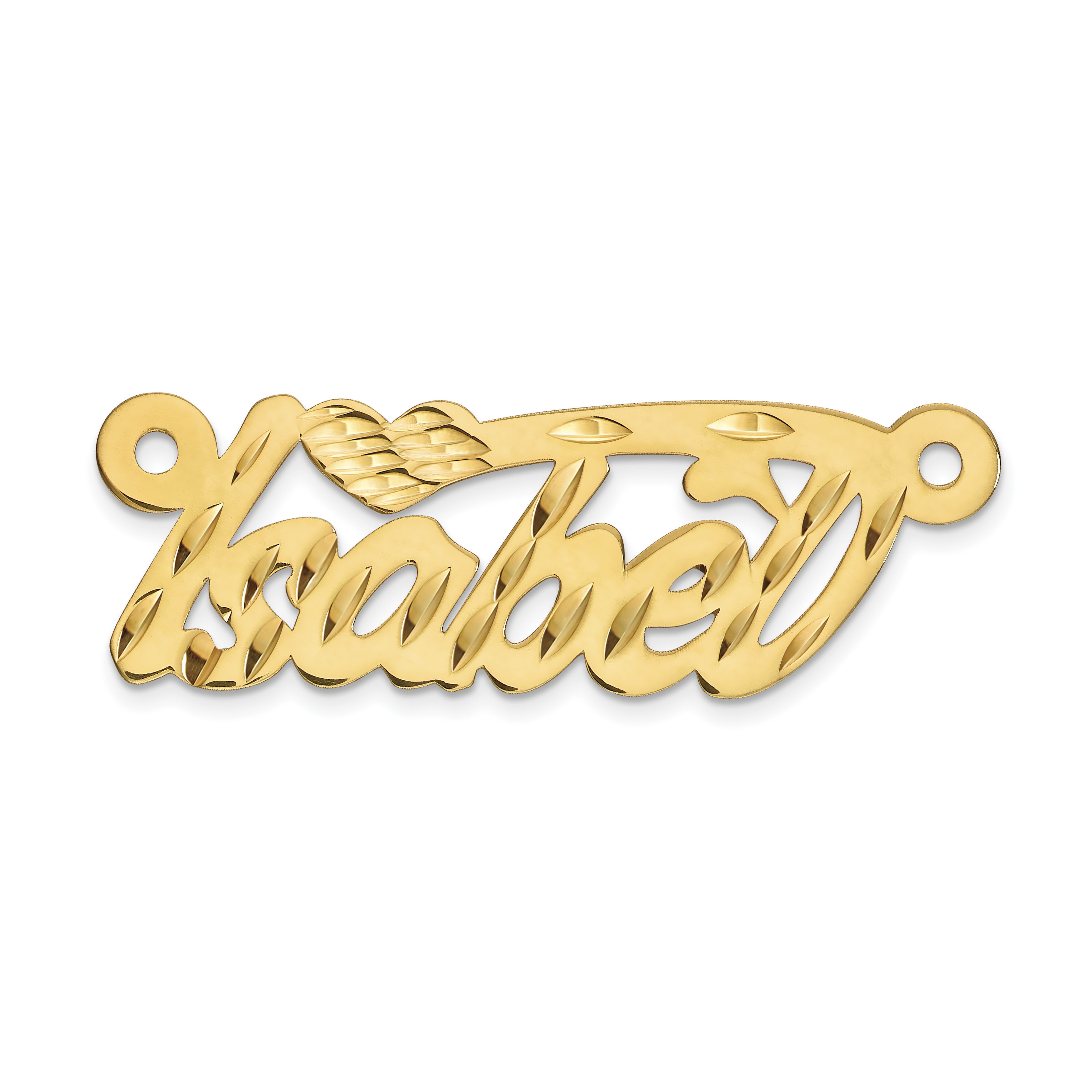 Jewel Tie 10k Yellow Gold .013 Gauge Polished Name Plate with Heart Pendant