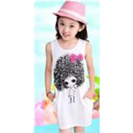 Girls Sleeveless Novelty Graphic Tunic Dress with Heart Cut Out Back, White 100 ()