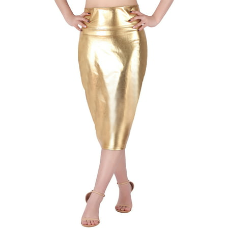 HDE Women's Shiny Metallic Faux Leather Below Knee Midi Bodycon Pencil Skirt (Gold, Large)